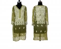 Designer Chikankari Gre...