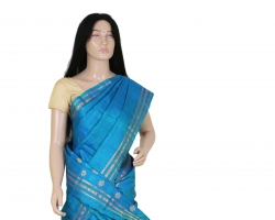 Blue Silk Jangla Saree